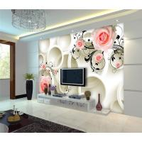 Embossed Surface 3D Wall Decor Panels Pink Roses For Hotel TV Background Wall