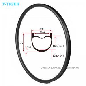 Quality 7-tiger NEW 30 x 30 mm Width Carbon Fiber 27.5er Mountain Bike Clincher Rim Tubeless Compatible ud matte for sale
