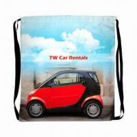 Quality Sublimation Drawstring Backpack with Black 1cm Webbing Strap for sale
