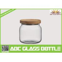 Quality Wholesale clear food glass jar with wooden lid for sale