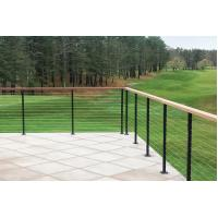 Black wire cable railing with square ss316 baluster wooden top handrail for sale