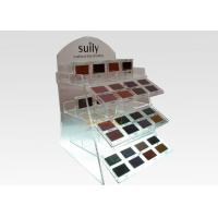Quality 2 Tiers Floor Clear Display Stand Acrylic Cosmetic Makeup Organizer Logo Printing for sale