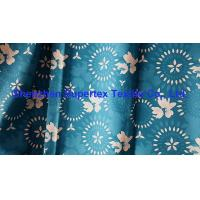 Quality Teal Blue Beachwear Fabric Microfiber Peach 2/2 Twill Paper Print W/R Finish 200GSM for sale