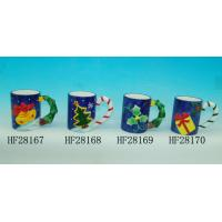 Quality Blue Custom Ceramic Mugs Promotional Beer Mugs With Relief Letter Or Logo for sale