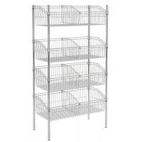 Quality Silver Chrome Finish Wire Grid Baskets Shelving 8 - Basket Shelving Unit for sale