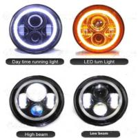 Quality 7 Inch Jeep Wrangler Car LED Headlights Angel Eyes Diecast Aluminum Housing for sale