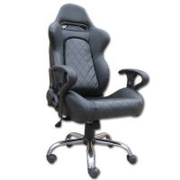 Quality Mult - function Gray + Black Leather Executive Office Chair Lounge With Metal Frame for sale