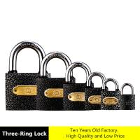 Quality Three - Ring High Security Padlock , Rust Proof Black Universal Iron Padlock for sale