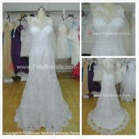 Quality NEW!!! High neckline Mermaid wedding dress Lace skirt Low back Bridal gown #AS1574 for sale