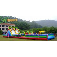 Buy Funny Huge Inflatable Obstacle Course Rental With Jumping Castle Slide at wholesale prices