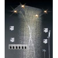 Quality High - End Color Changing Ceiling Mounted Rain Shower Head With Body Jet , Square Shape for sale