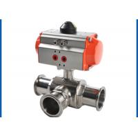 3 Way Sanitary Ball Valve , Pneumatic Actuated Ball Valve Welded Connection Type for sale