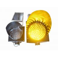 Quality 200mm Waterproof Solar LED Traffic Light Durable , Yellow Solar LED Warning Light for sale