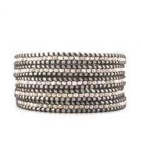 China 82cm 5 Row Silver Stone Beads Leather Cord Wrap Bracelet / Bangle For Men on sale