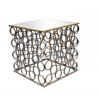 Quality Squre end table with small iron circle decorations for Dinning room metal framed gold finish for sale