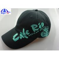 Quality 6 Panels Black Mens Baseball Caps / Hats With Embroidery On The Peak And Front Side for sale