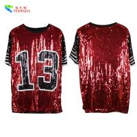 China Red Black Plus Size Party Womens Sequin Clothing Round Neck Elbow Sleeve on sale