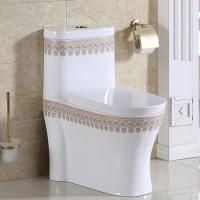 China Most Popular india Bathroom floor mouonted dual flush sanitary ware Colored decal One Piece Toilet Ceramic on sale
