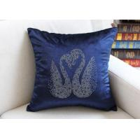 Quality Swan Pattern Cushion Cover Luxury European Diamond Technology Car Seat Chair Pillow Cover Velvet Soft Pillowcase for sale