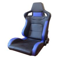 Quality PVC Adjustable Blue And Black Racing Seats / Sports Car Seat with single slider for sale