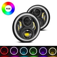 Quality 7 Inch Round RGB Halo Car Lights Bluetooth Control Headlights High / Low Beam For Driving Light for sale
