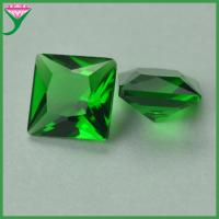 Wuzhou synthetic stone wholesale Square gemstone emerald green glass stone for jewelry for sale