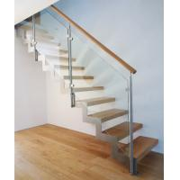 Buy cheap Anti-Slip Solid Wood Used Straight Staircase Design with Metal Railing from wholesalers