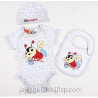 Quality 3pcs Newborn Baby gift sets  100% cotton with PRINT for sale