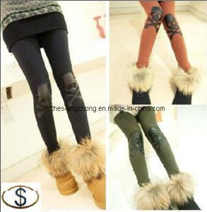 China Fashion Women Rock Knee Leather X-Bone Skull Leggings Tights Pants on sale