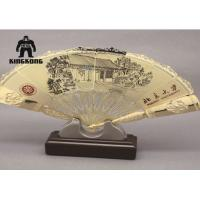 Quality Summer  Plated Metal Hand Fan   Bamboo Printing   Business Promotion  Supply for sale