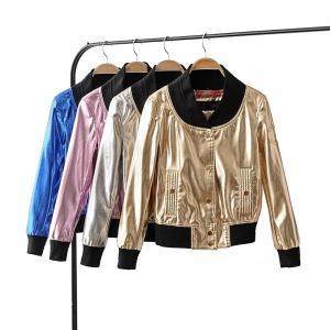 Quality Stylish Metallic Bomber Jacket Womens , Gold Nylon Jacket Zipper Closure for sale