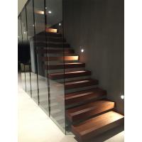 Buy cheap Clear glass railing floating stair with anti slip slots on steps from wholesalers
