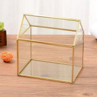 Golden Geometric Glass Terrarium Decorative Tabletop Plants Container for sale
