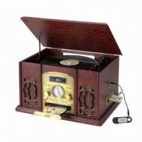 China Nostalgia Wooden Music Center with Turntable, Cassette, AM/FM Radio, and CD Player on sale