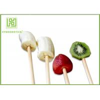 Quality 100% Natural Wood Flat Round Fruit Skewer Sticks For Kids Party for sale