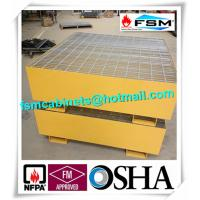 Quality Steel Drum Spill Containment Pallets , Spill Containment Platform Yellow for sale