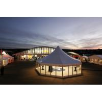 Hard Glass Walls Outdoor Event Clear Span Tent , Hexagon Canopy Party Tent for sale