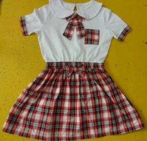 Quality 100% Cotton Checked Girls School Uniform Dresses , Summer Kids Uniform Dress for sale