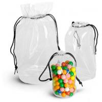 Quality Transparent PVC Drawstring Bag Frosted Color Round Shaped With Square Bottom for sale