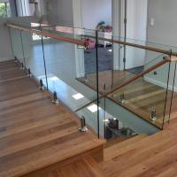 Quality Stainless steel spigot clear glass railing with wooden top handrail design for sale