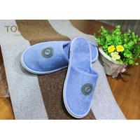 Quality Blue Terry Bedroom Slippers with Normal Printing Customized Logo for sale