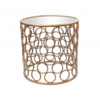 Quality Metal frame round iron end table with iron circle decoration in gold for sale