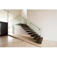 Quality Build Floating Stair with clear glass railing for sale