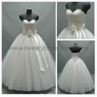 Quality Ball Gown Sweetheart Beading Big Satin Belt Lace and Tulle Wedding Dress AS4101A for sale
