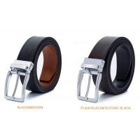 China Durable Genuine Leather Reversible Buckle Belt Two Side Full Grain Leather Belt Clamp Buckle Belt on sale