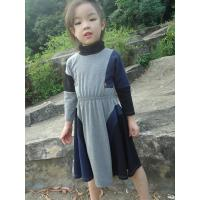 Quality Grey  Turtleneck 5 Year Baby Girl Dress , Little Girl Long Sleeve Dresses Cotton Spandex for sale