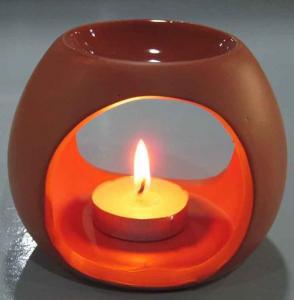 Quality Tealight Room Fragrance Ceramic Oil Burner Tart Warmer Red Color For Gifts for sale