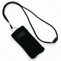 Quality Handy Mobile Phone Sock Lanyard with Woven Label and Adjustor Attached, Made of Polyester for sale