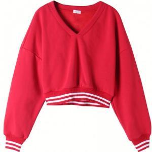 Quality Fashion Women'S Drop Shoulder Sweatshirt ,  V Neck Crop Top Pullover Red Black for sale