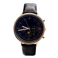 Quality Royal Blue Dial Luxury  Black Leather Strap Watch with Calendar for sale